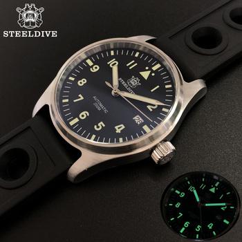 STEELDIVE 1940 Pilot zegarka mężczyzna 200M wodoodporny NH35 automatyczne mechaniczne zegarki szafirowe c3 Luminous 200M zegarek do nurkowania tanie i dobre opinie 20Bar Skóra wdrażania wiadro SPORT Nurkowanie Mechaniczna Ręka Wiatr Automatyczne self-wiatr 25cm STAINLESS STEEL Podświetlenie