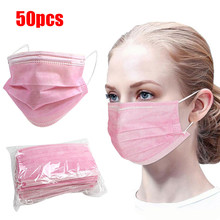 Face-Mask Disposable Pink Mouth-Caps Dust Breathing 50pcs Anti-Pollution 3-Layer