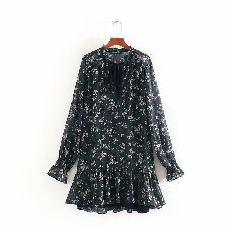 Women Sweet Bow Tied V Neck Floral Print Hem Ruffles Mini Dress Elegant Ladies Long Sleeve Chiffon Vestidos Chic Dresses DS3093