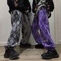 Готический эластичный пояс, свободные шаровары с вышивкой, контрастные брюки для бега, женские и мужские уличные штаны в стиле Харадзюку, па...