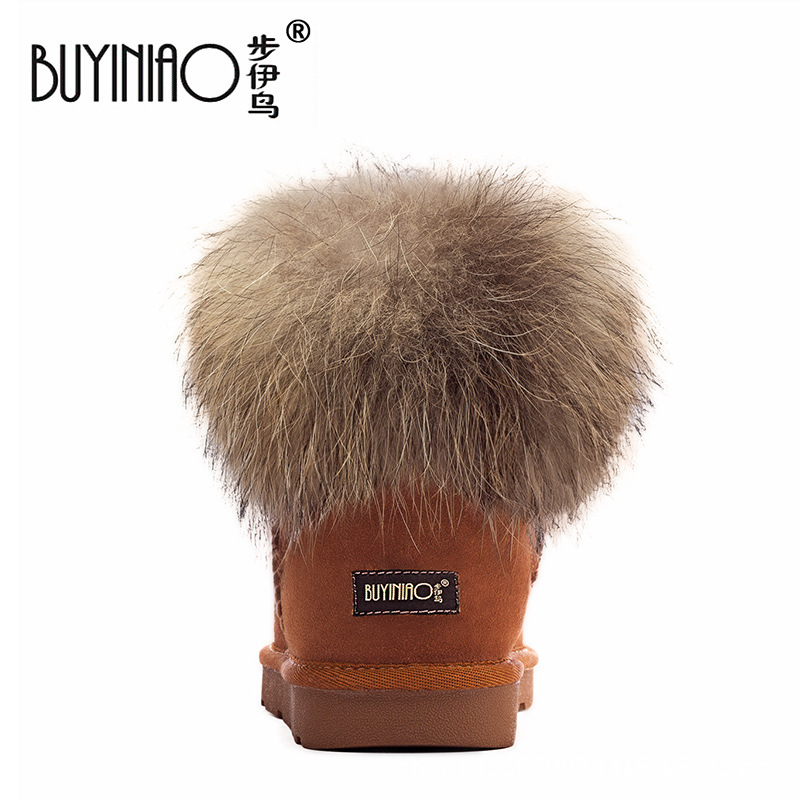 2018 New Style Fox Fur Snow Boots Women's Genuine Leather Short Warm Cotton-padded Shoes Casual Women's Snow Boots