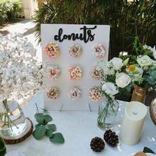 Ahşap Donut duvar standı halka tutucu Donuts bahar düğün dekorasyon aksesuarları bebek duş çocuklar doğum günü partisi dekor