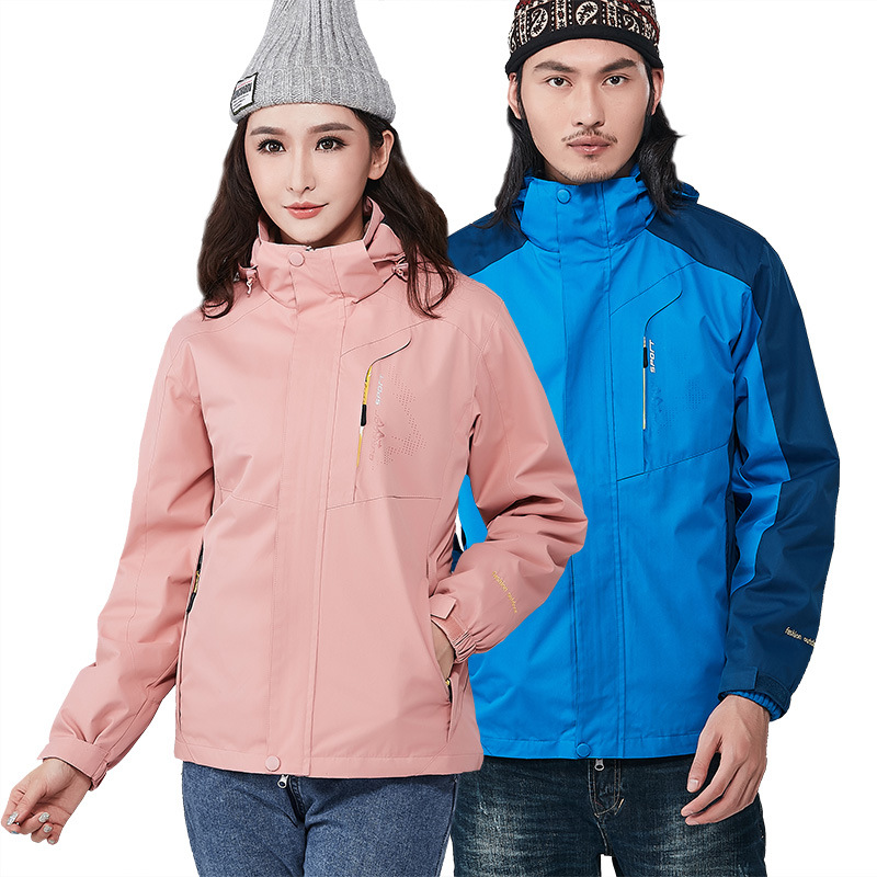 Raincoat Jacket Women's Three-in-One-Piece Plus Velvet Thick Waterproof Breathable Outdoor Mountaineering Men's Tibet