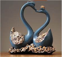 Simple Modern Resin Lover Swan Accessories Art Home Livingroom Table Figurines Crafts Hotle Office Desktop Ornaments Decoration(China)
