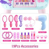 Hot 2 in 1 74CM Height Princess Girls Vanity Table Dressing Makeup Table Piano Pretend Toys with Mirror Cosmetics Working Hair D
