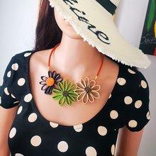 Couro sol flor grande colar para mulher feito à mão colar de afirmação pingente vintage jóias étnicas para festa de presente mx110