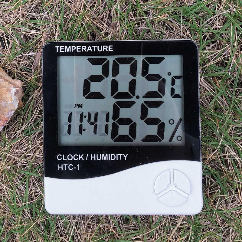 Termómetro Interior Exterior higrómetro Digital LCD C/F temperatura humedad medidor alarma reloj estación meteorológica alarma HTC-1