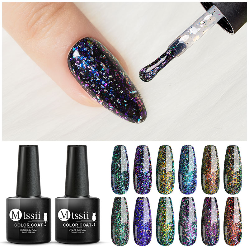 Mtssii Glitter Fireworks Chameleon Gel Nail Polish Shimmer Soak Off Nail Art UV Gel Lacquer Hybrid Use With Black Gel Varnish