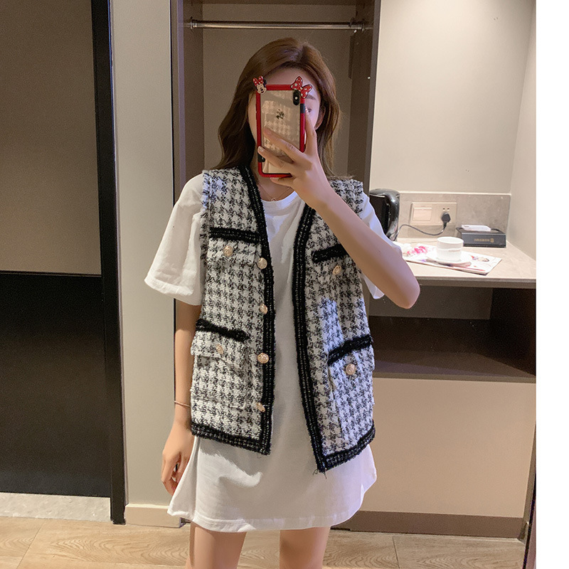 Photo Shoot WOMEN'S Suit 2019 Korean-style New Style Loose-Fit T-shirt + Single Breasted Slimming Waistcoat-Style Two-Piece Set