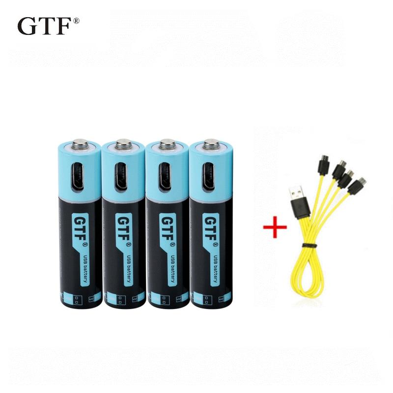Литий-ионный аккумулятор GTF 100% емкостью 1,5 в, 450 мАч, МВт/ч, литий-полимерный аккумулятор с USB, перезаряжаемый литиевый usb аккумулятор + USB кабел...