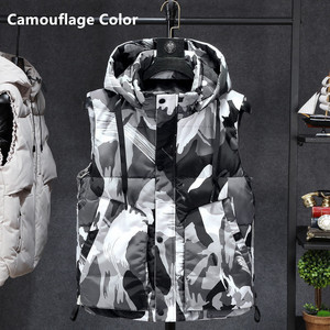 Image 2 - Inverno sem mangas jaqueta 2019 quente preto camuflagem chapéu com capuz casaco casual com capuz plus size 6xl 7xl 8xl estudantes magros blusão