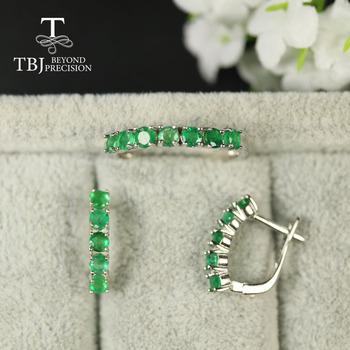 2020 Small simple real Emerald Jewelry Set natural Zambia green emerald Round 3mm gemstone Ring earring 925 sterling silver tbj tbj natural zambia emerald gemstone pendant in 925 sterling silver tree leaf pendant for women girl as anniversary birthday gift