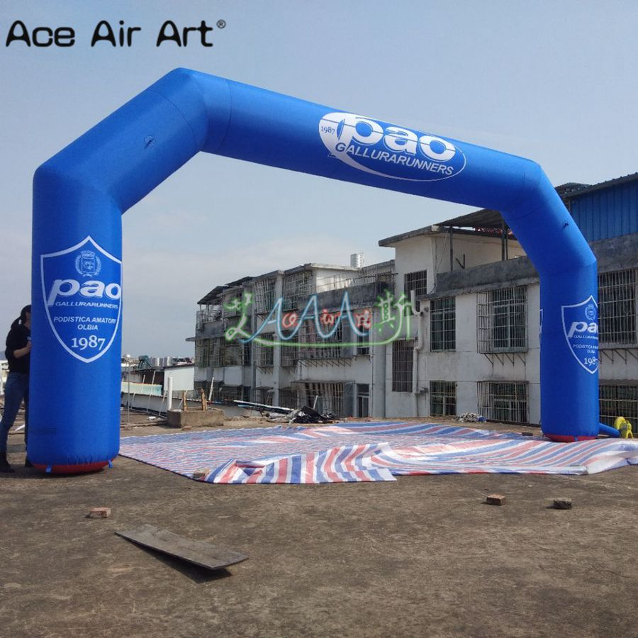 Finish line Inflatable Race  Arch,Customized logo 8x4m sport game gate balloon with removable banner for running
