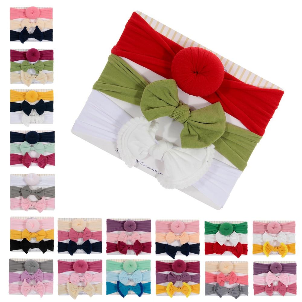 Fashion 3pcs/lot Baby Nylon Bow Headband Newborn Bowknot Round Ball Headwraps Girl Kids Hair Bands Cute Christmas Gifts
