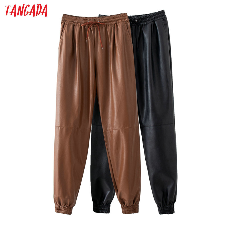 Tangada Women Khaki Black PU Leather Harm Pants Stretch Waist Female 2020 High Street Pants Trousers QJ44
