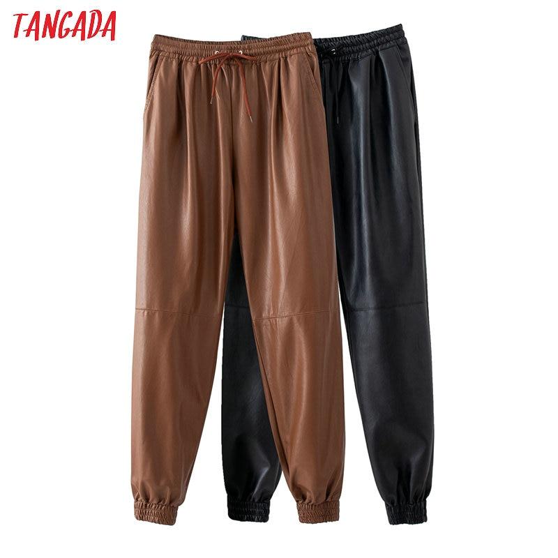 Tangada Women Khaki Black PU Leather Harm Pants Stretch Waist Female 2020 High Street Pants Trousers QJ44