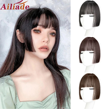 Clip-On-Bangs Hairpieces Synthetic Black/brown Women AILIADE for High-Temperature-Fiber