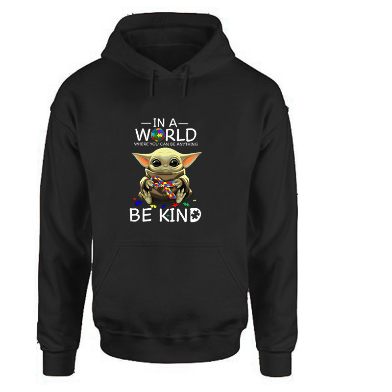 Baby Yoda In A World Be Kind Hoodies Women Clothes Casual Full Cartoon Pullovers Streetwear Sweatshirt Balck Clothing