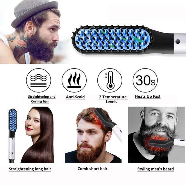 Multifunctional Beard Straightener Heated man's Hair Beard Flat Iron Quick  Straightening Beard Brush Show Cap Tool Dropshipping 3
