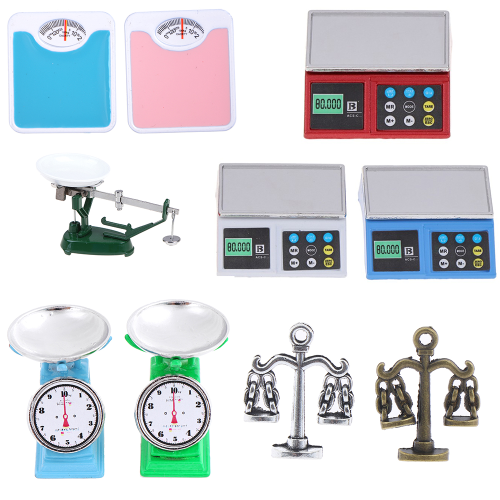 1/12 Dollhouse Miniature Accessories Mini Weigh Scale Simulation Weight Balance Model Toys For Doll House Decoration