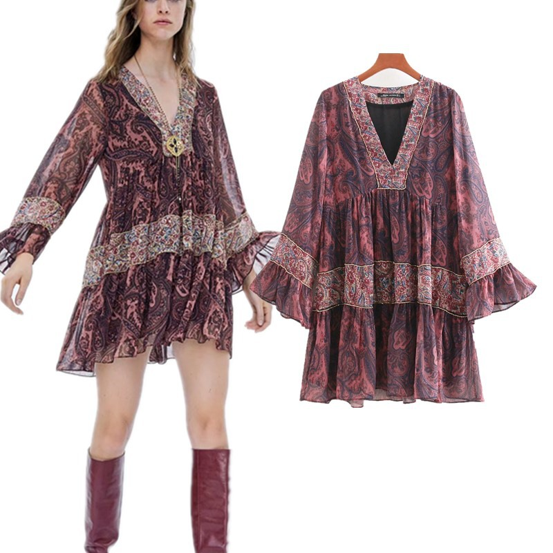 Autumn New Style Europe And America WOMEN'S Dress Fashion Flower Printed Joint Light Bar Decoration Dress S5455