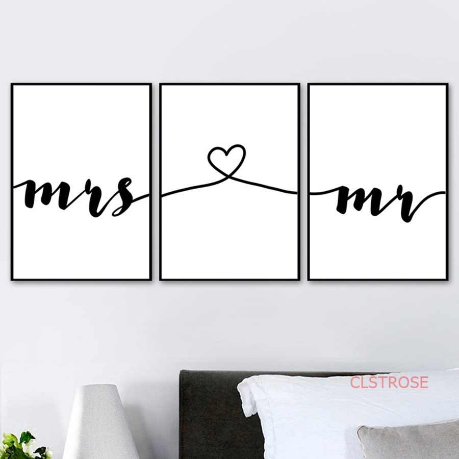 Romantic Love Quotes Wall Art Canvas Painting Nordic Posters and Prints Mr Mrs Pictures For Living Room Home Wedding Decoration