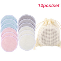 12 unids/set reutilizable de fibra de bambú de removedor de maquillaje de almohadillas lavable rondas limpieza algodón Facial Suave que la eliminación de herramienta