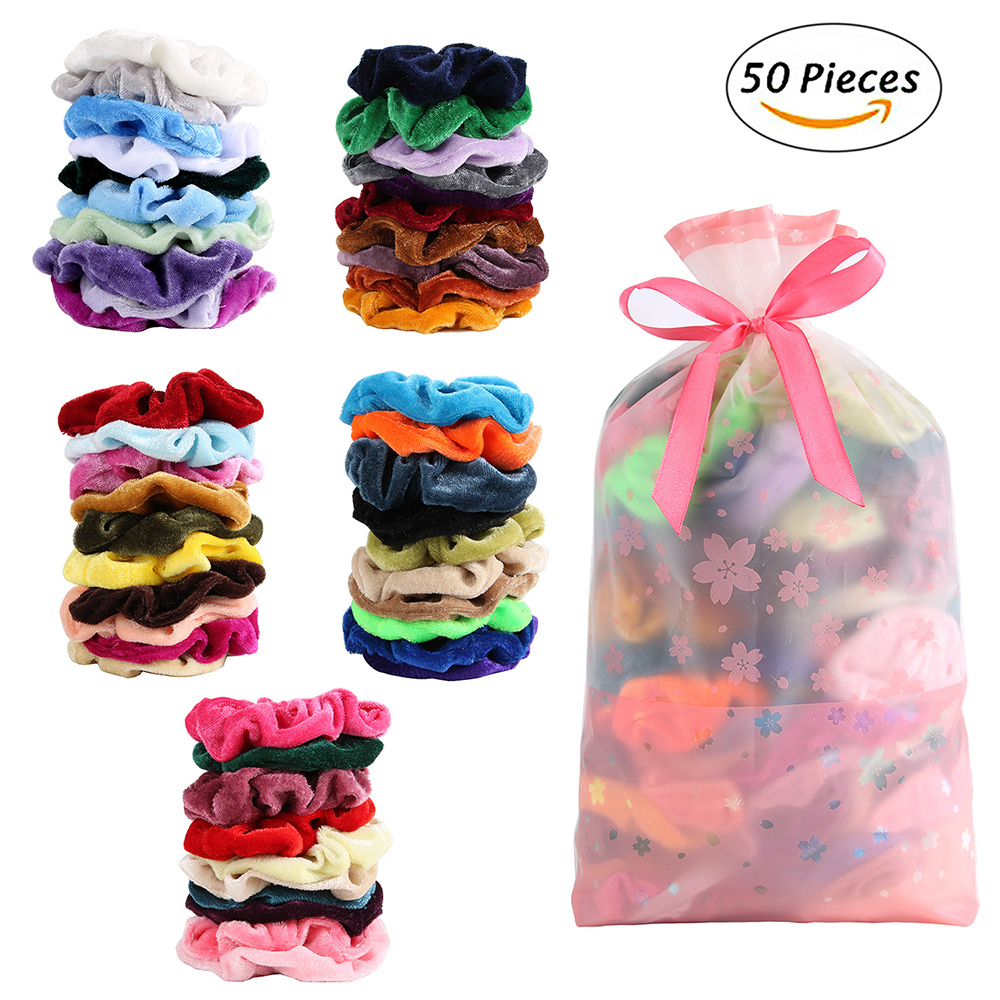 1 Set Lot Of Velvet Scrunchies Elastic Hair Rubber Bands Hair Tie Rope For Women Girls Hair Grooming Accessories Whoelsale