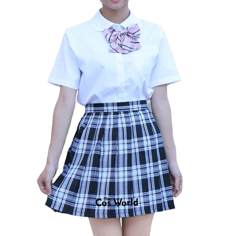 XS-3XL Girl's Japanese Summer High Waist Pleated Skirt Plaid Skirts Women Dress Students JK School Uniform