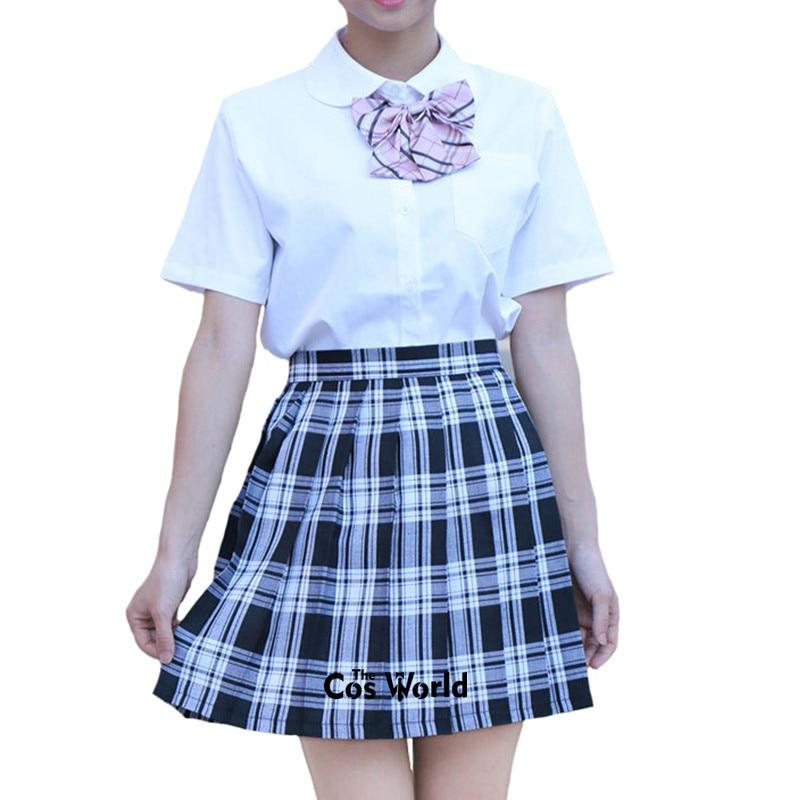 XS-3XL Girl's Japanese Summer High Waist Pleated Skirt Plaid Skirts Women Dress Students JK School Uniform