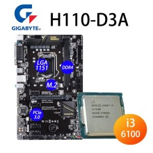 LGA 1151 Gigabyte H110-D3A Placa base + CPU Intel Core i3 6100 DDR4 M.2 32GB 3.7GHzDMI3 8GT/s H110 Placa-madre 1151 utilizado