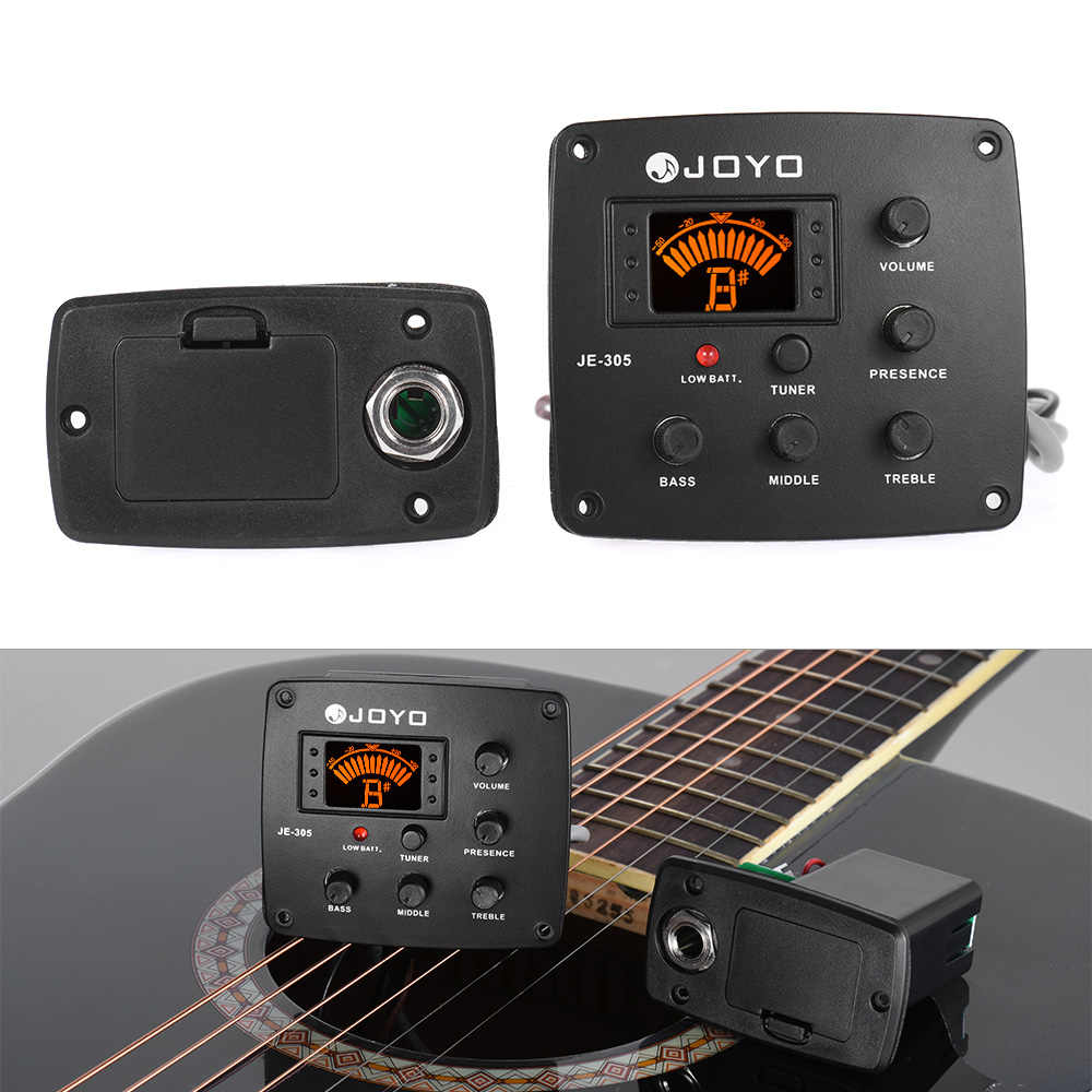 JE-305 guitarra acústica piezopickup Preamp 4 bandas EQ ecualizador SISTEMA DE SINTONIZADOR con LCD Dispaly