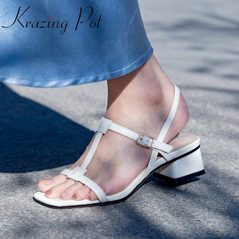 Krazing pot hot sale genuine leather peep square toe women sandals buckle strap med heels beach vacation wear summer shoes L22