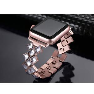 Image 3 - Correa para Apple Watch de 38/42mm, 40mm, 44mm, pulsera de diamante para mujer, apple watch Series 6 SE 5 4 3 2, correa de acero inoxidable