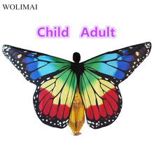 Belly Dance Wings Butterfly Wings Sticks Bag Kids Belly Dancing Costume Children Women Adult Bellydance Colorful Wings Robs girls butterfly wings dancing halter cape kids belly dance opening split wing festival wear children coat scarf shawl wrap gift