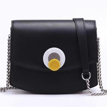 New Sale Genuine Leather Shoulder Bags Solid Color Small Square Bag Chain Sen Black Egg Yolk Bag women leather handbags  Single aetoo leather art sen retro shoulder shoulder bag handbags women s vegetable tanned leather saddle bags multi color