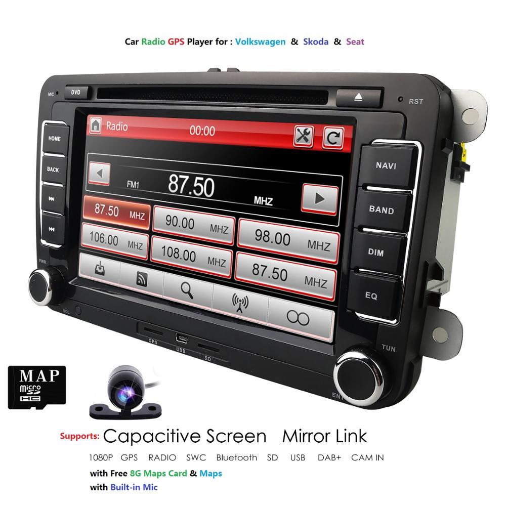 Ossuret Car DVD Stereo 7 Inch GPS Navi ForVW Passat CC Golf 5 6 Cabriolet Tiguan JettaPolo Sedan Bora Sharan Wince RDS BT Camera