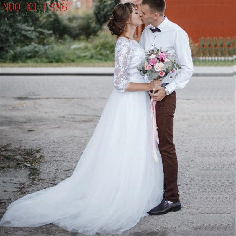 3/4 sleeve Lace Wedding Dress 2020 Scoop Applique Gelinlik Tulle Bridal Gown A-line Wedding Gowns Robe De Mariage casamento