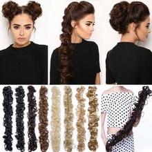 Волосы булочки для наращивания волнистые кудрявые грязные длинные шиньоны парик конский хвост KG66