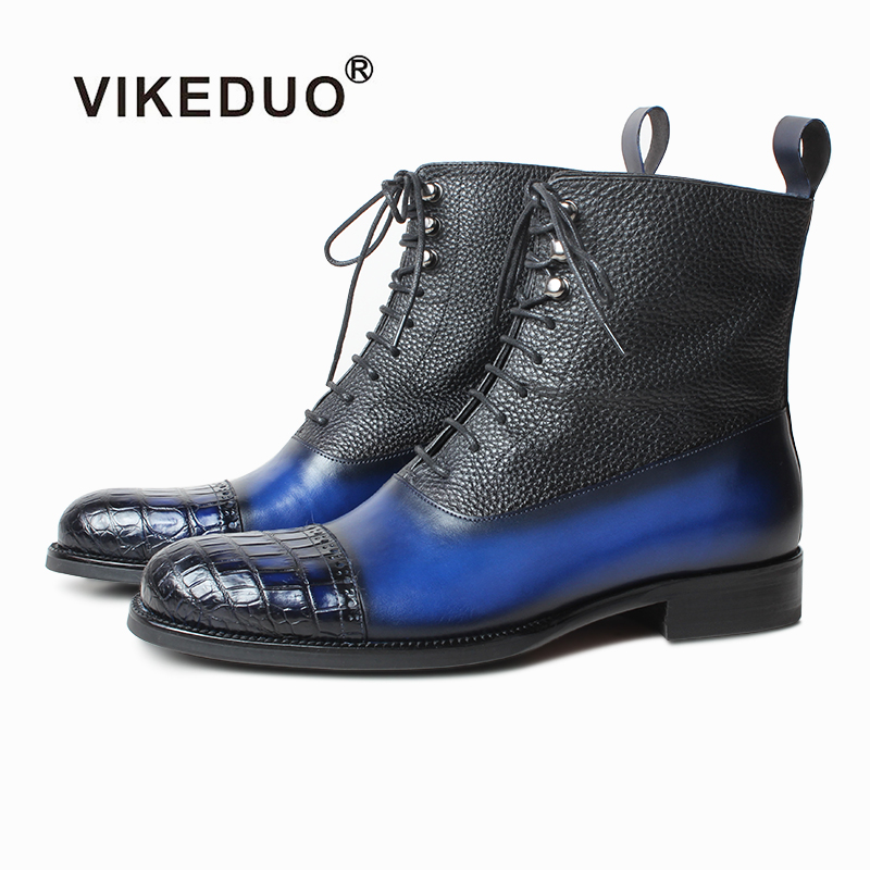 Vikeduo 2019 Classic Fashion Handmade Crocodile Leather Boots for Autumn and Winter