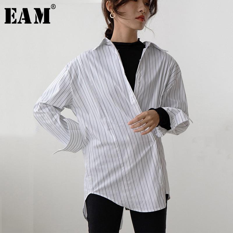 [EAM] Women White Striped Split Big Size Blouse New Lapel Long Sleeve Loose Fit Shirt Fashion Tide Spring Autumn 2020 1S323