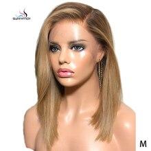 Sunnymay 13x4 ombre frente do laço peruca de cabelo humano com o cabelo do bebê personalizado 27/613 remy peruca reta 130% pré arrancar perucas dianteira do laço