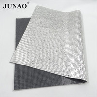 JUNAO 24*40cm Clear Hot Fix Glass Mirror Rhinestone Mesh Transfer Strass Ribbon Iron On Crystal Trimming Applique For Decoration
