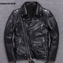 Mauroicardi Spring Black Leather Motorcycle Jacket for Men Style Long Sleeve Zipper Pockets Mens Leather Jackets and Coats 2021