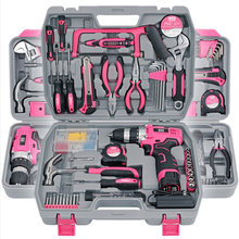 Electric Screwdriver Socket Wrench Knife Hand Tool Set General Household Repair Hand Tool Kit with Plastic Toolbox Storage Case