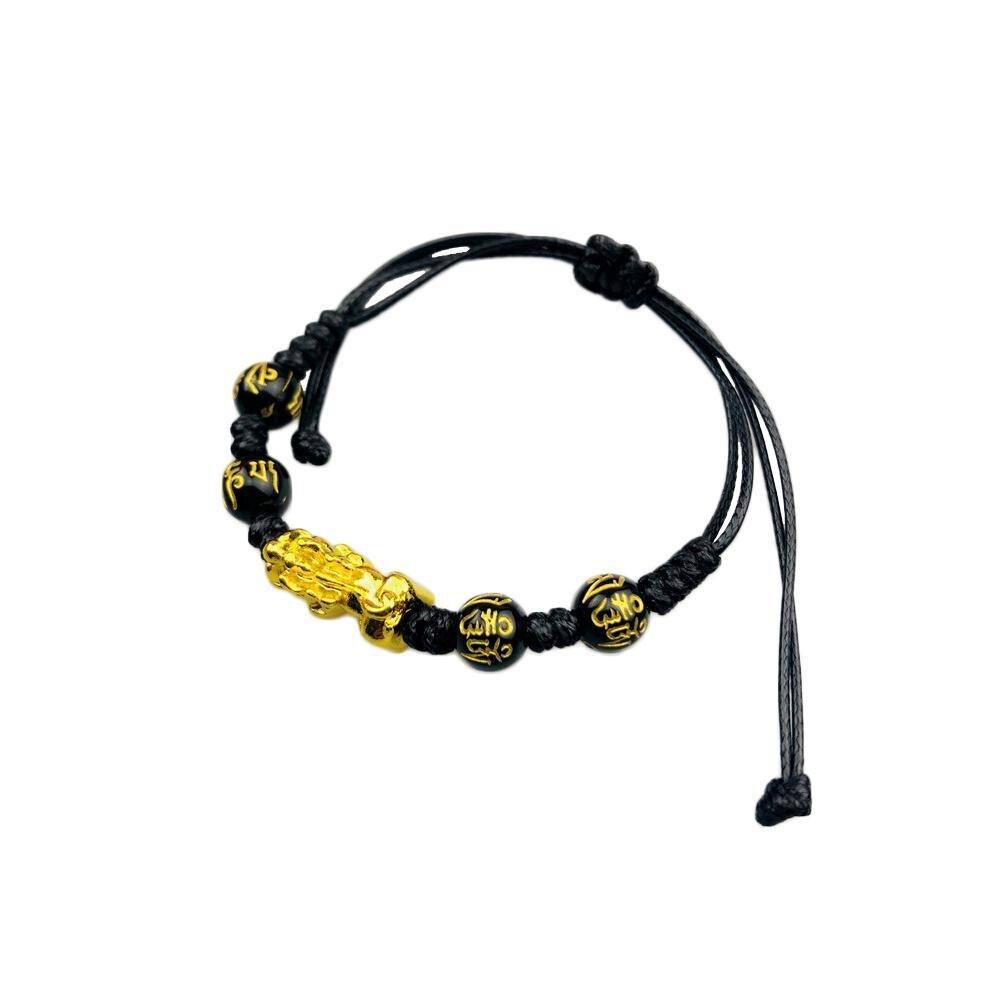 Черный обсидиановый браслет фэн-шуй, плетеный браслет Pixiu, счастливый ручной работы, богатство, амулет, Плетеный, унисекс, подарочное украше...