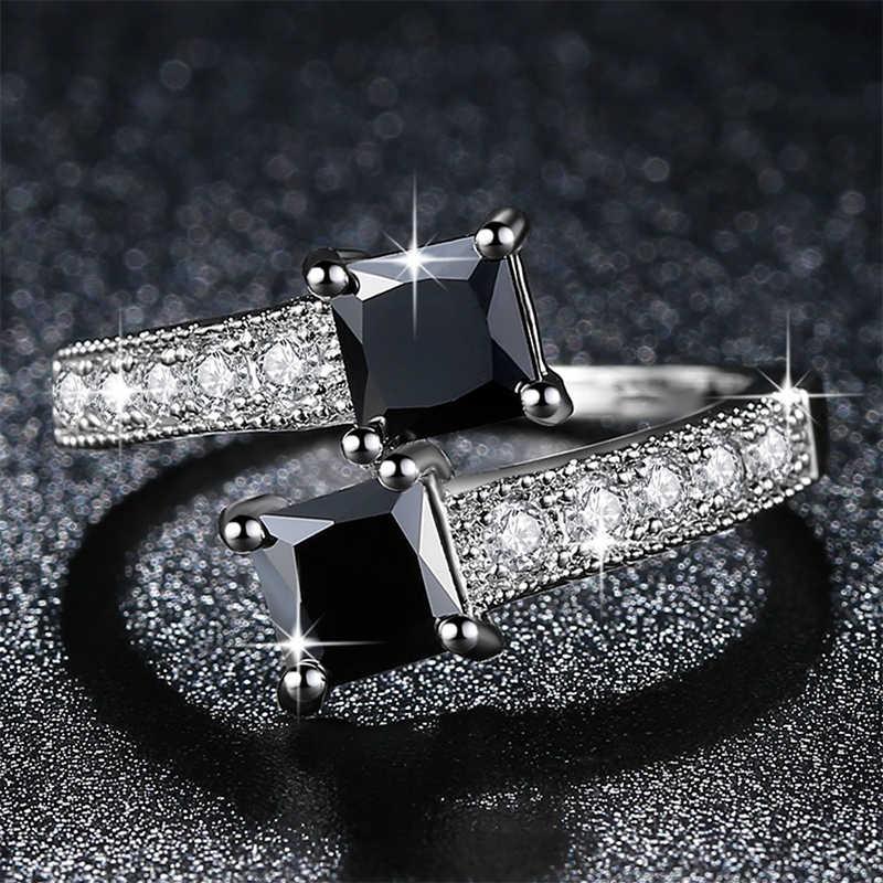 Véritable étoile de luxe étoiles anneaux 10KGF or blanc rempli anneaux pour les femmes bijoux de mode bague avec CZ véritable noir