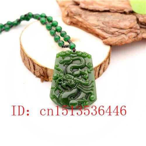 Pingente de jade dragão esculpido natural chinês verde grânulos colar charme jadeite jóias moda sorte amuleto presentes para homens m02
