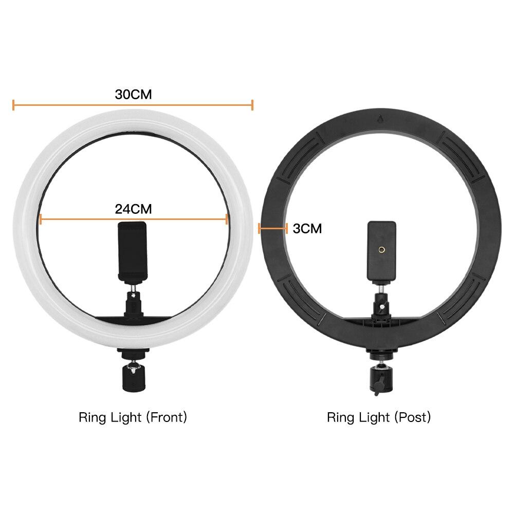 SPASH 12 cali 160 sztuk lampa pierścieniowa led możliwość przyciemniania 2700K-5500K 12W CRI90 fotografia Photo Studio lampa