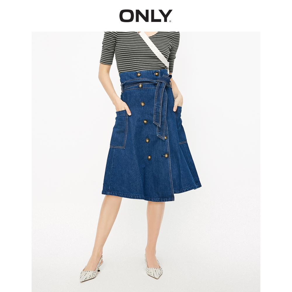 ONLY Women's High-rise A-line Double-breasted Lace-up Denim Skirt | 119137516